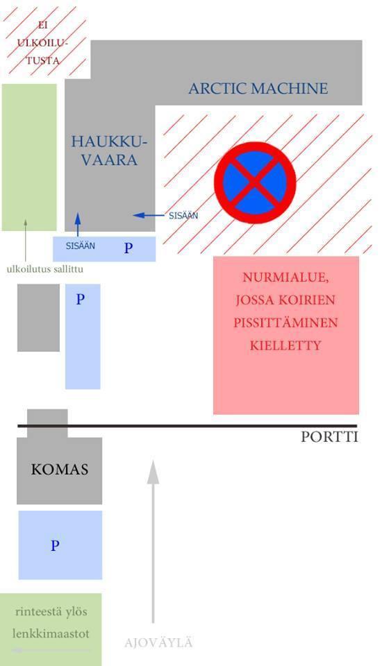 Haukkuvaara piha-alueen kartta